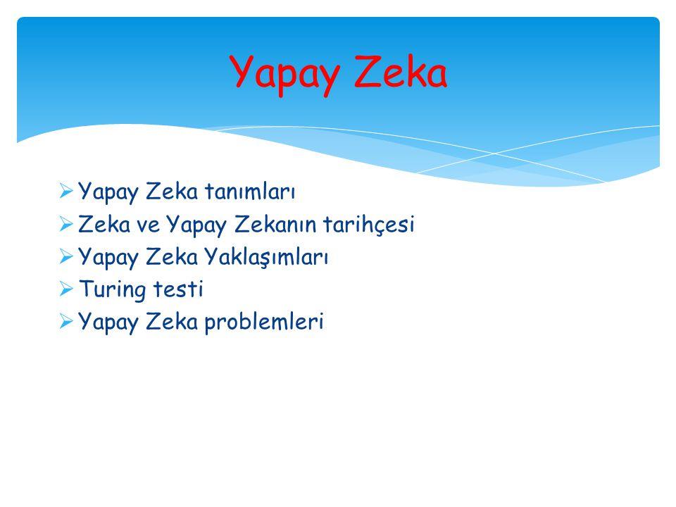  Yapay Zeka tanımları  Zeka ve Yapay Zekanın tarihçesi  Yapay Zeka Yaklaşımları  Turing testi  Yapay Zeka problemleri Yapay Zeka