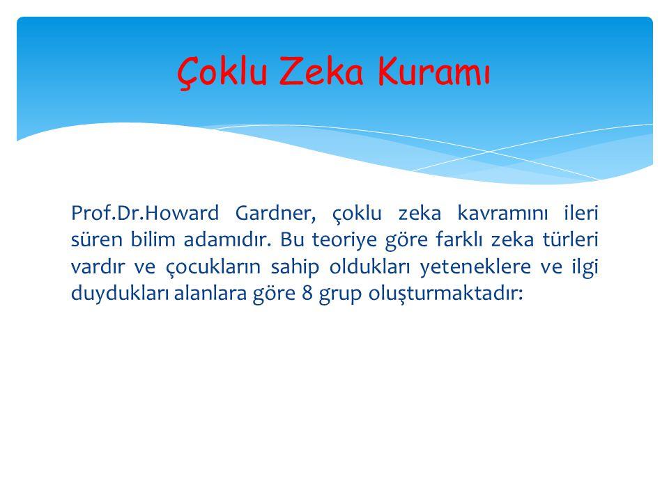 Prof.Dr.Howard Gardner, çoklu zeka kavramını ileri süren bilim adamıdır. Bu teoriye göre farklı zeka türleri vardır ve çocukların sahip oldukları yete