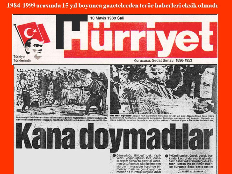 1984-1999 arasında 15 yıl boyunca gazetelerden terör haberleri eksik olmadı