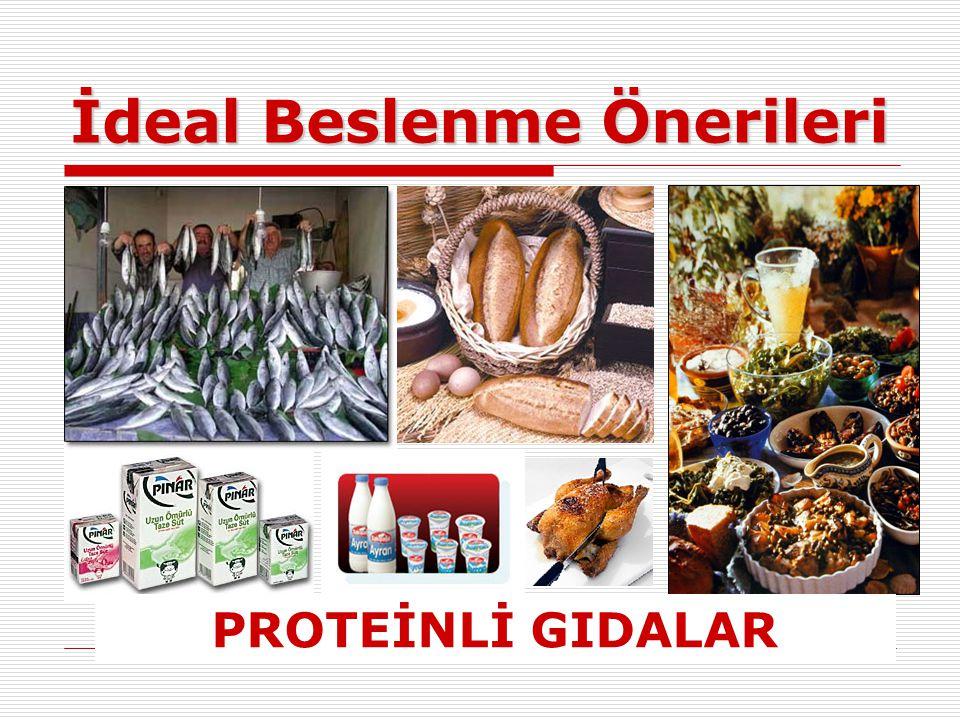 İdeal Beslenme Önerileri PROTEİNLİ GIDALAR