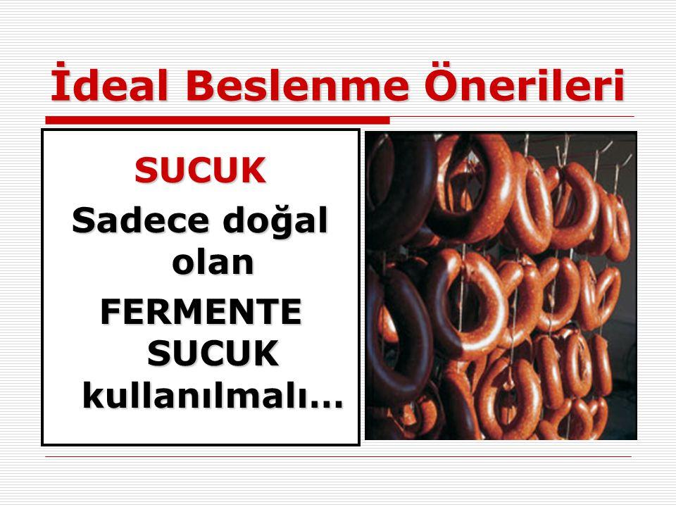 İdeal Beslenme Önerileri SUCUK Sadece doğal olan FERMENTE SUCUK kullanılmalı…