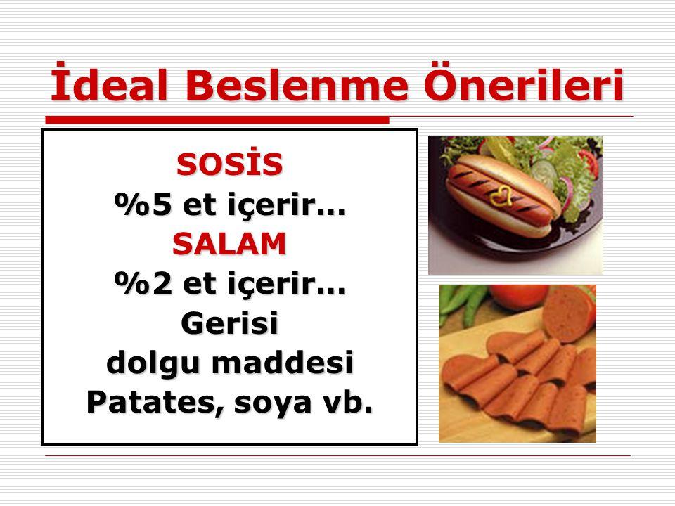 İdeal Beslenme Önerileri SOSİS %5 et içerir… SALAM %2 et içerir… Gerisi dolgu maddesi Patates, soya vb.