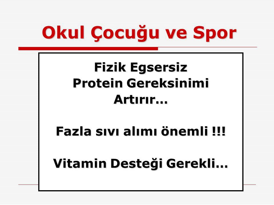Okul Çocuğu ve Spor Fizik Egsersiz Protein Gereksinimi Artırır… Fazla sıvı alımı önemli !!! Vitamin Desteği Gerekli…