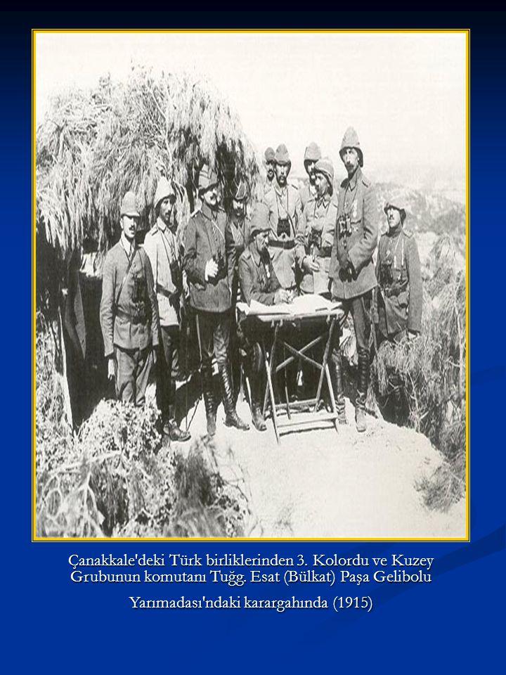 Başkomutan Vekili Enver Paşa komutanlarla Çanakkale de denetlemede (1914 sonraları)