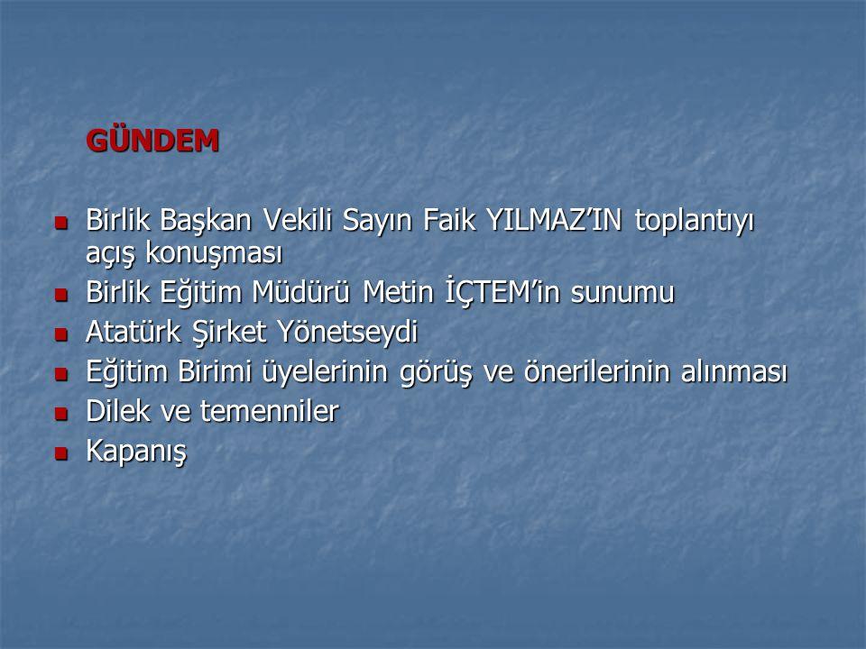 GÜNDEM  Birlik Başkan Vekili Sayın Faik YILMAZ'IN toplantıyı açış konuşması  Birlik Eğitim Müdürü Metin İÇTEM'in sunumu  Atatürk Şirket Yönetseydi