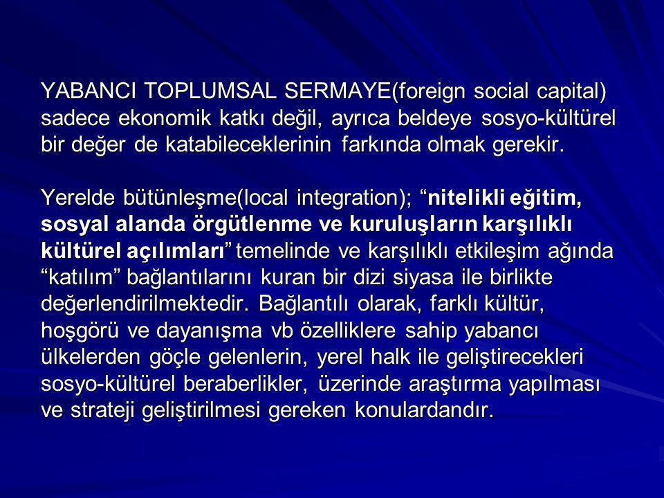 YABANCI TOPLUMSAL SERMAYE(foreign social capital) sadece ekonomik katkı değil, ayrıca beldeye sosyo-kültürel bir değer de katabileceklerinin farkında