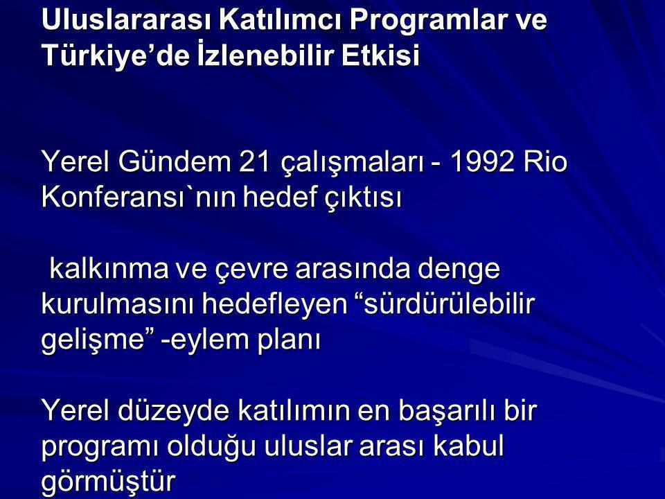 Uluslararası Katılımcı Programlar ve Türkiye'de İzlenebilir Etkisi Yerel Gündem 21 çalışmaları - 1992 Rio Konferansı`nın hedef çıktısı kalkınma ve çev
