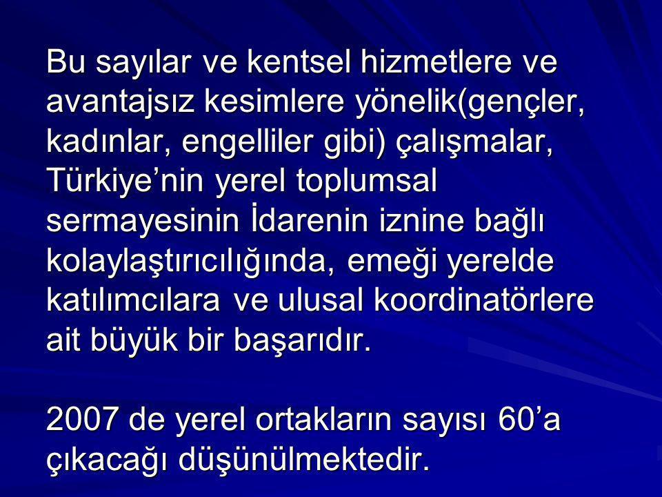 Bu sayılar ve kentsel hizmetlere ve avantajsız kesimlere yönelik(gençler, kadınlar, engelliler gibi) çalışmalar, Türkiye'nin yerel toplumsal sermayesi