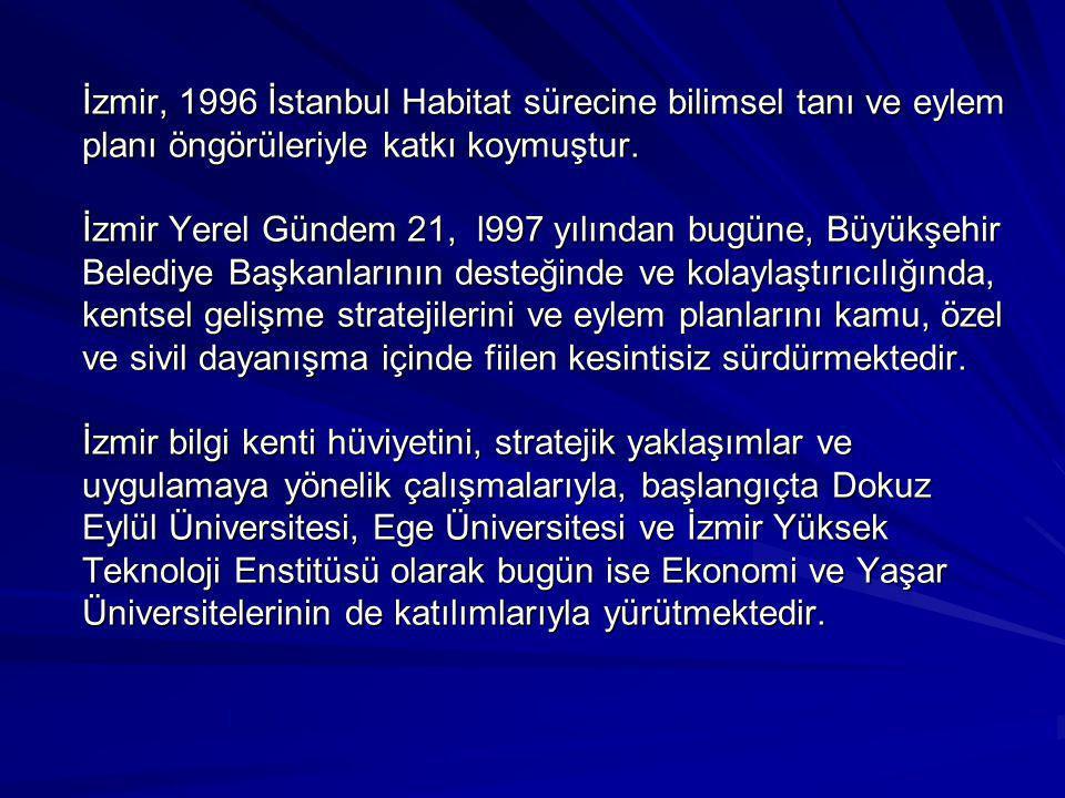 İzmir, 1996 İstanbul Habitat sürecine bilimsel tanı ve eylem planı öngörüleriyle katkı koymuştur. İzmir Yerel Gündem 21, l997 yılından bugüne, Büyükşe