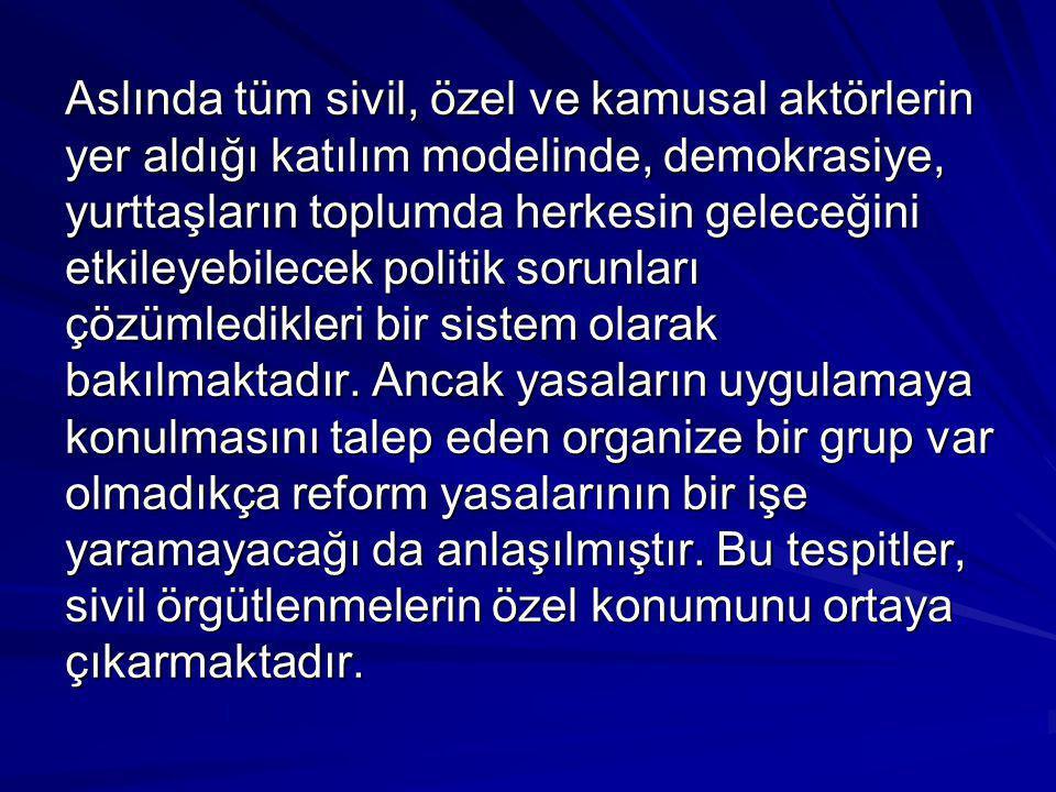 Aslında tüm sivil, özel ve kamusal aktörlerin yer aldığı katılım modelinde, demokrasiye, yurttaşların toplumda herkesin geleceğini etkileyebilecek pol