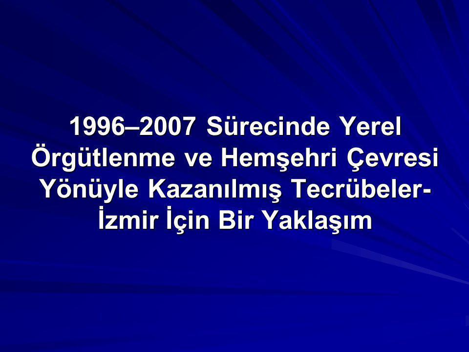 1996–2007 Sürecinde Yerel Örgütlenme ve Hemşehri Çevresi Yönüyle Kazanılmış Tecrübeler- İzmir İçin Bir Yaklaşım