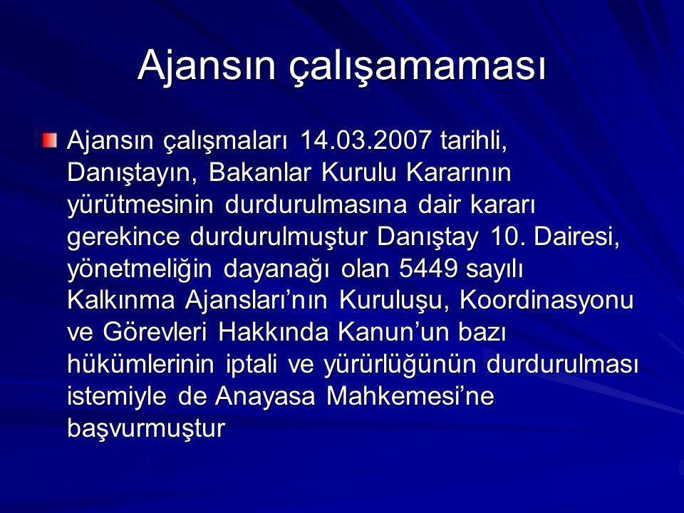 Ajansın çalışamaması Ajansın çalışmaları 14.03.2007 tarihli, Danıştayın, Bakanlar Kurulu Kararının yürütmesinin durdurulmasına dair kararı gerekince d
