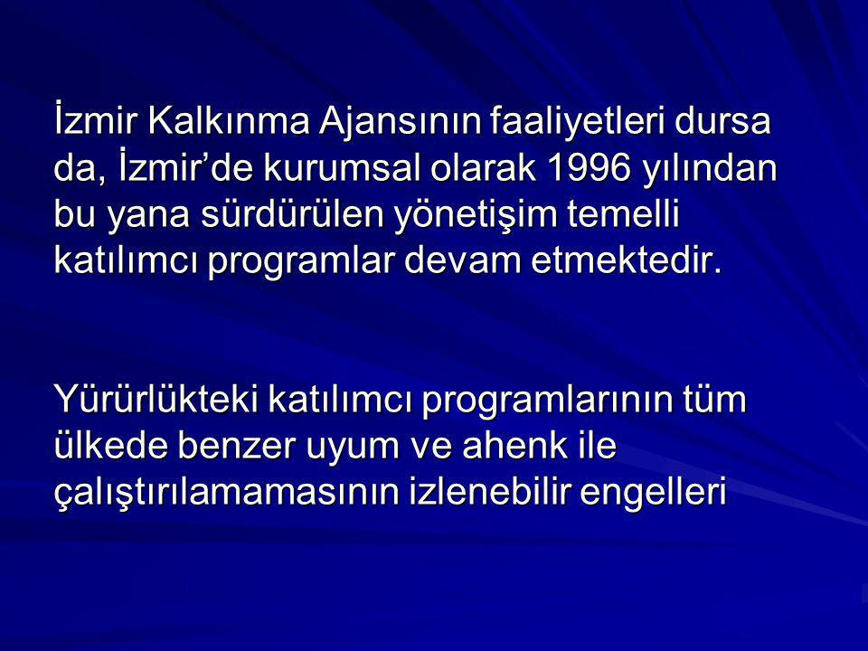 İzmir Kalkınma Ajansının faaliyetleri dursa da, İzmir'de kurumsal olarak 1996 yılından bu yana sürdürülen yönetişim temelli katılımcı programlar devam