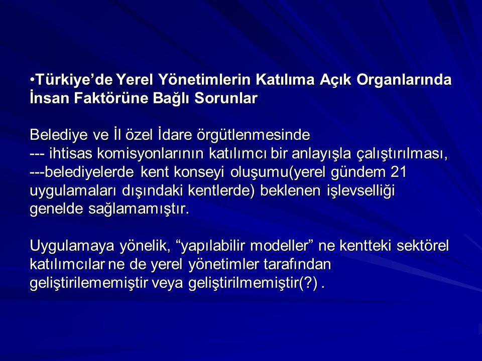 •Türkiye'de Yerel Yönetimlerin Katılıma Açık Organlarında İnsan Faktörüne Bağlı Sorunlar Belediye ve İl özel İdare örgütlenmesinde --- ihtisas komisyo