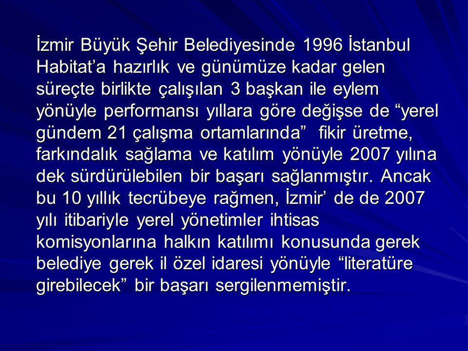 İzmir Büyük Şehir Belediyesinde 1996 İstanbul Habitat'a hazırlık ve günümüze kadar gelen süreçte birlikte çalışılan 3 başkan ile eylem yönüyle perform