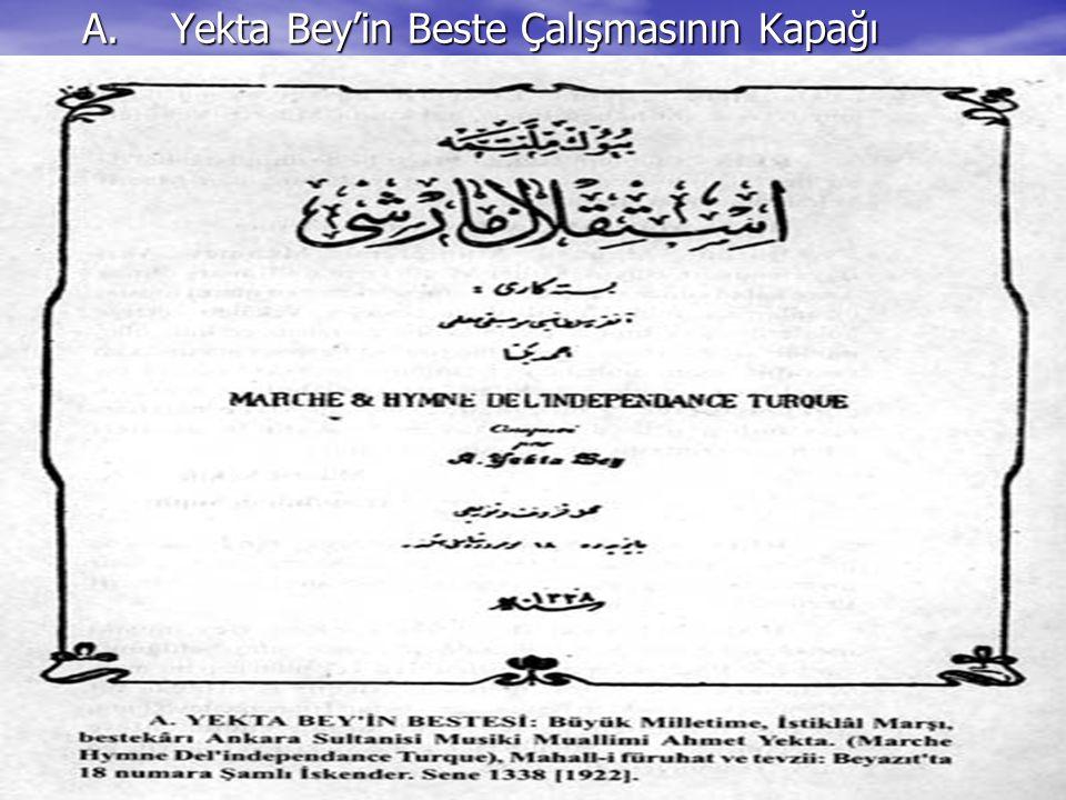 A.Yekta Bey'in Beste Çalışmasının Kapağı