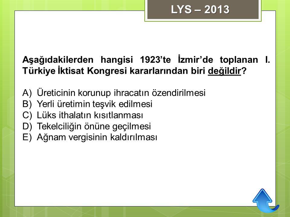 Aşağıdakilerden hangisi 1923'te İzmir'de toplanan I. Türkiye İktisat Kongresi kararlarından biri değildir? A)Üreticinin korunup ihracatın özendirilmes