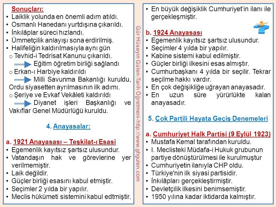 Sonuçları: •Laiklik yolunda en önemli adım atıldı. •Osmanlı Hanedanı yurtdışına çıkarıldı. •İnkılâplar süreci hızlandı. •Ümmetçilik anlayışı sona erdi