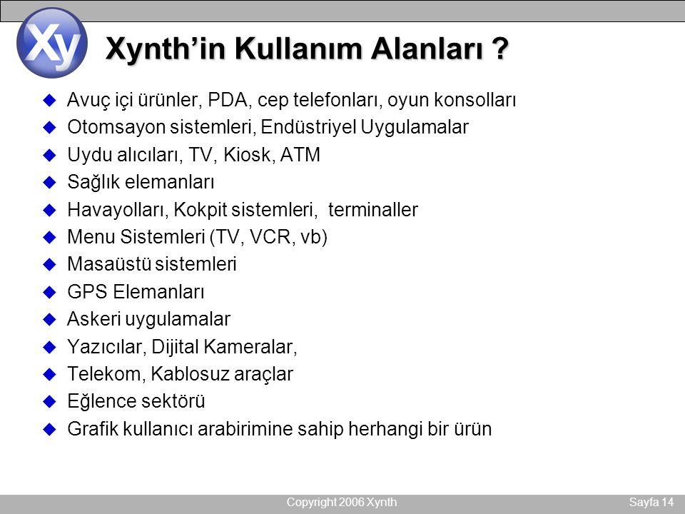 Copyright 2006 XynthSayfa 14 Xynth'in Kullanım Alanları ? u Avuç içi ürünler, PDA, cep telefonları, oyun konsolları u Otomsayon sistemleri, Endüstriye