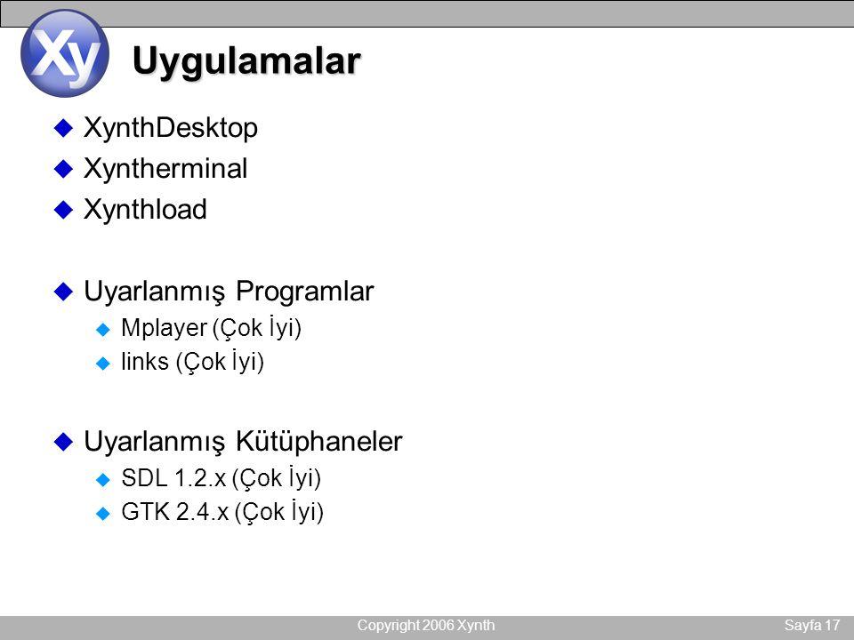Copyright 2006 XynthSayfa 17 Uygulamalar u XynthDesktop u Xyntherminal u Xynthload u Uyarlanmış Programlar u Mplayer (Çok İyi) u links (Çok İyi) u Uyarlanmış Kütüphaneler u SDL 1.2.x (Çok İyi) u GTK 2.4.x (Çok İyi)
