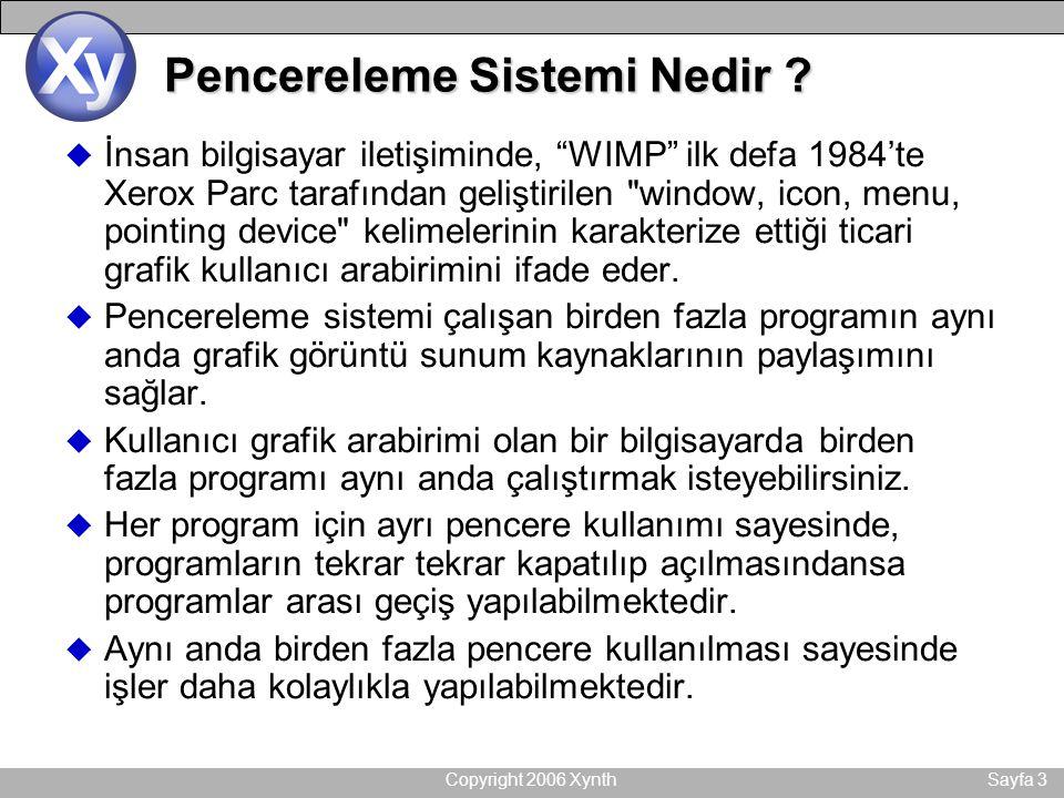 """Copyright 2006 XynthSayfa 3 Pencereleme Sistemi Nedir ? u İnsan bilgisayar iletişiminde, """"WIMP"""" ilk defa 1984'te Xerox Parc tarafından geliştirilen"""