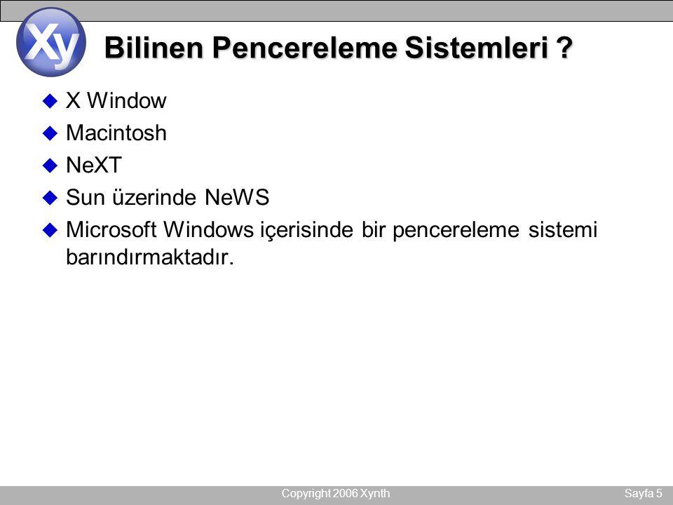 Copyright 2006 XynthSayfa 5 Bilinen Pencereleme Sistemleri ? u X Window u Macintosh u NeXT u Sun üzerinde NeWS u Microsoft Windows içerisinde bir penc