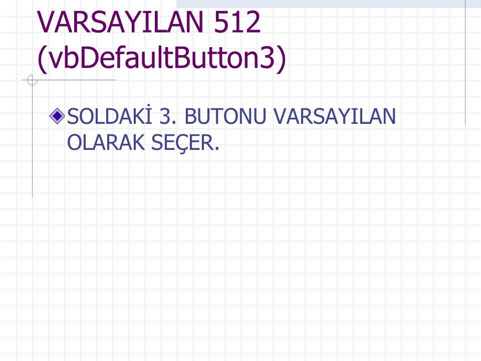 VARSAYILAN 512 (vbDefaultButton3) SOLDAKİ 3. BUTONU VARSAYILAN OLARAK SEÇER.