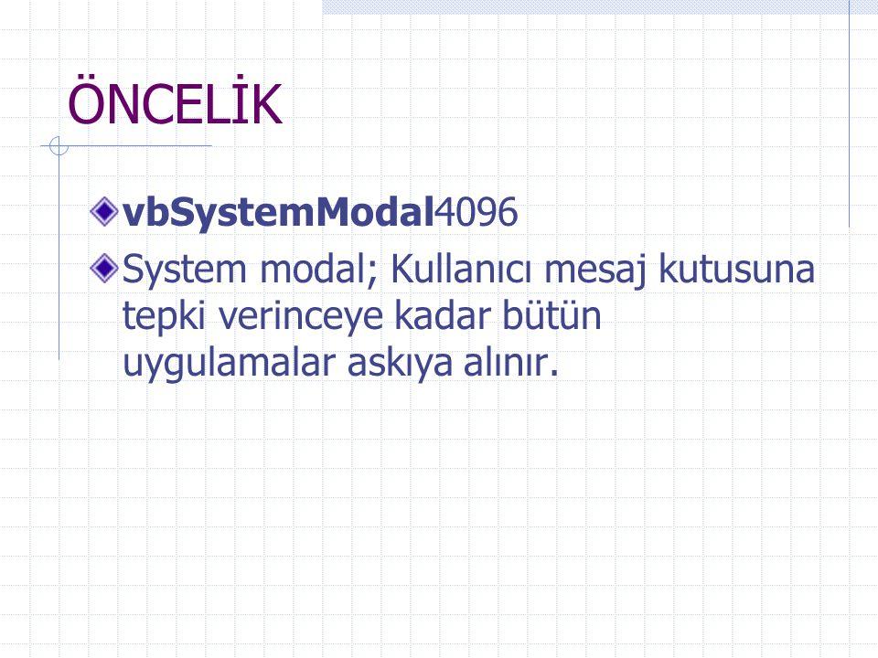 ÖNCELİK vbSystemModal4096 System modal; Kullanıcı mesaj kutusuna tepki verinceye kadar bütün uygulamalar askıya alınır.