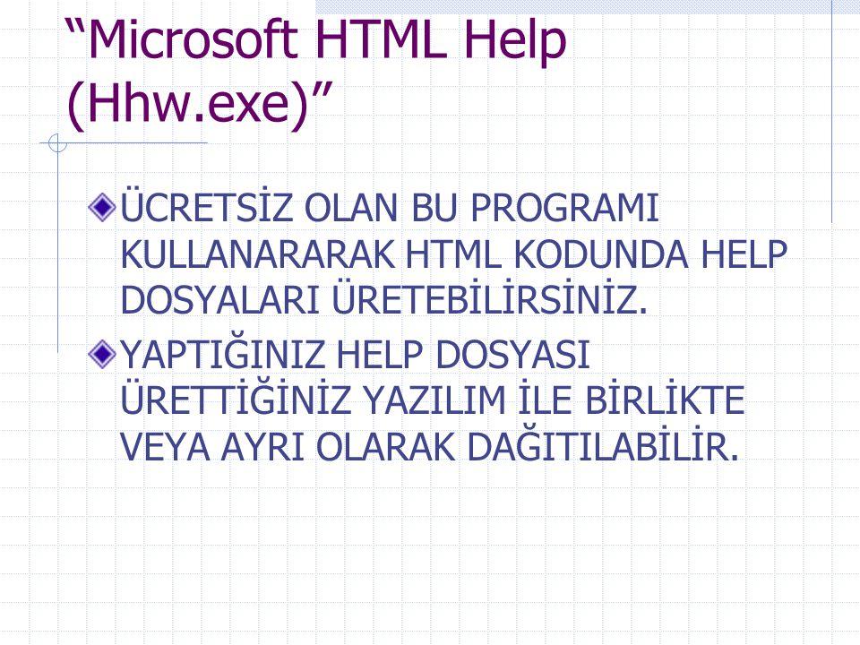 Microsoft HTML Help (Hhw.exe) ÜCRETSİZ OLAN BU PROGRAMI KULLANARARAK HTML KODUNDA HELP DOSYALARI ÜRETEBİLİRSİNİZ.