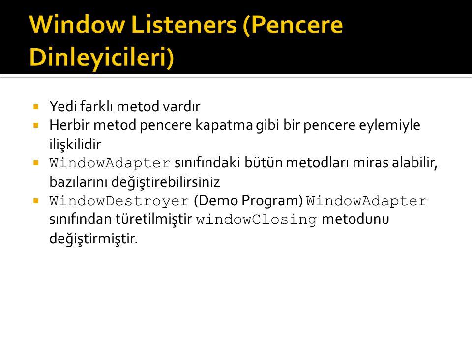  Yedi farklı metod vardır  Herbir metod pencere kapatma gibi bir pencere eylemiyle ilişkilidir  WindowAdapter sınıfındaki bütün metodları miras ala