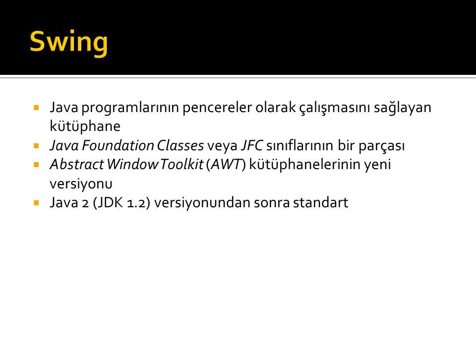 import javax.swing.*; public class IlkPencere extends JFrame { public static final int EN = 300; public static final int YUKSEKLIK = 200; public IlkPencere() { super(); setSize(EN, YUKSEKLIK); JLabel etiket = new JLabel( Please don't… ); getContentPane().add(etiket); WindowDestroyer dinleyici = new WindowDestroyer(); addWindowListener(dinleyici); } Jframe sınıfından türetilmiş Temel sınıfın kurucu metodunu çağırıyor setSize, getContentPane, ve addWindowListener metodları Jframe sınıfından miras alınıyor