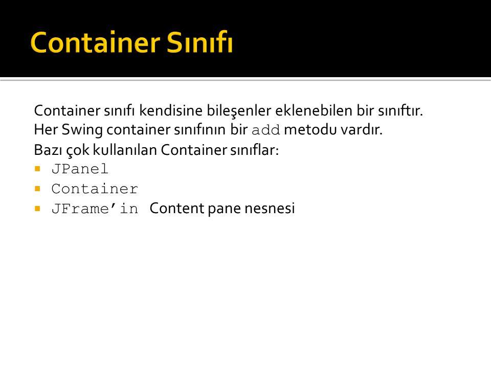 Container sınıfı kendisine bileşenler eklenebilen bir sınıftır. Her Swing container sınıfının bir add metodu vardır. Bazı çok kullanılan Container sın