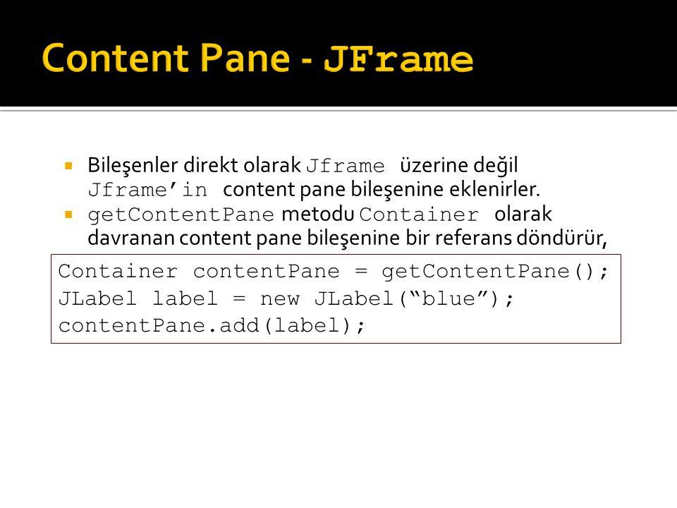  Bileşenler direkt olarak Jframe üzerine değil Jframe'in content pane bileşenine eklenirler.  getContentPane metodu Container olarak davranan conten