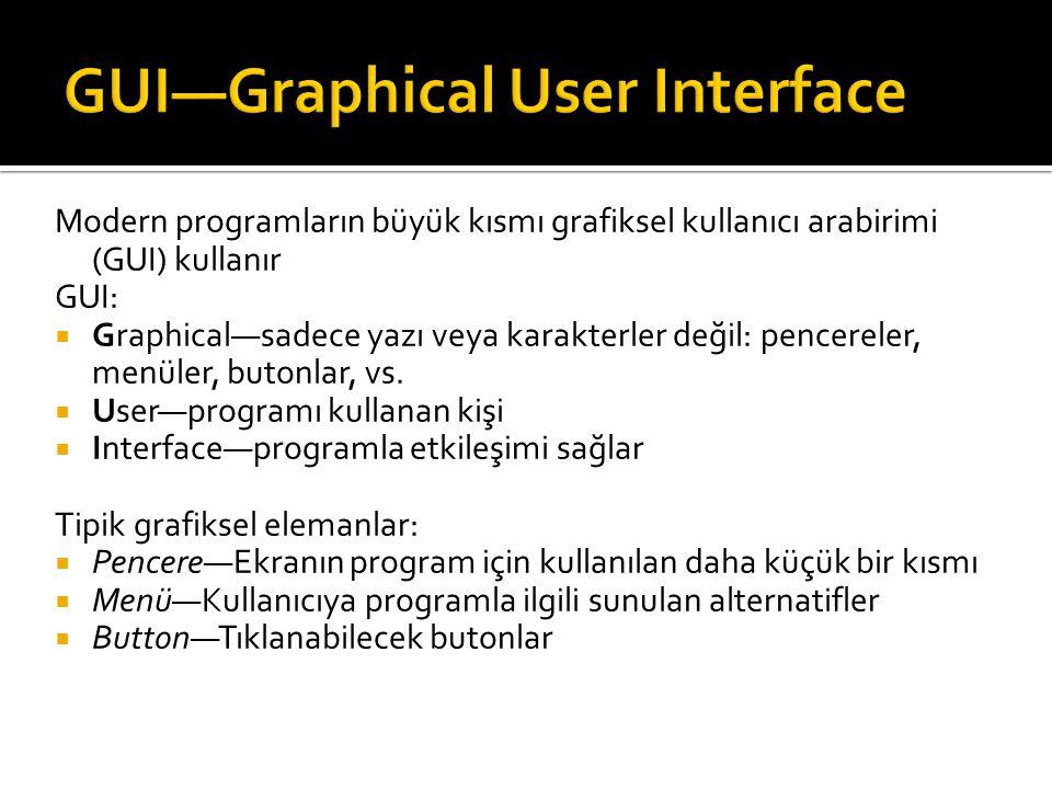 Modern programların büyük kısmı grafiksel kullanıcı arabirimi (GUI) kullanır GUI:  Graphical—sadece yazı veya karakterler değil: pencereler, menüler,