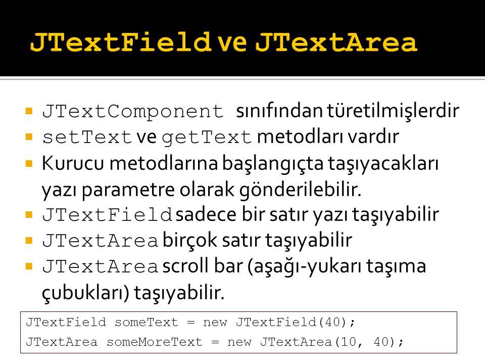  JTextComponent sınıfından türetilmişlerdir  setText ve getText metodları vardır  Kurucu metodlarına başlangıçta taşıyacakları yazı parametre olara