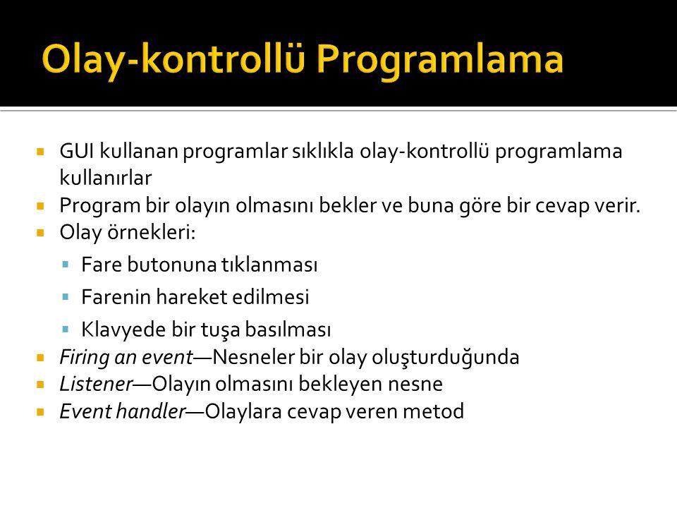  GUI kullanan programlar sıklıkla olay-kontrollü programlama kullanırlar  Program bir olayın olmasını bekler ve buna göre bir cevap verir.  Olay ör