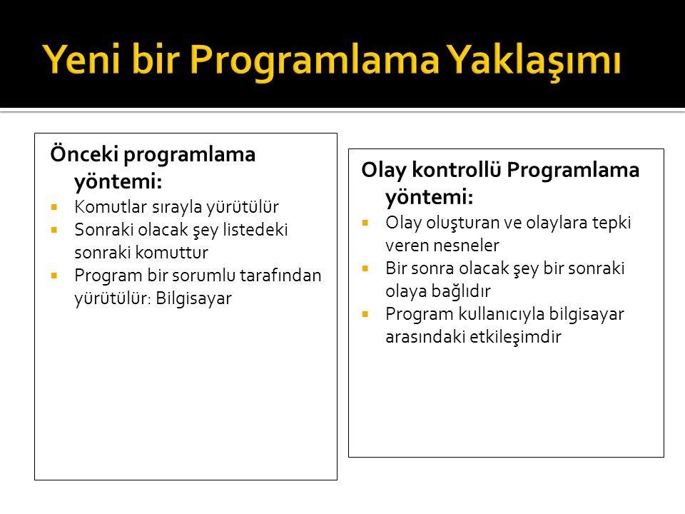 Önceki programlama yöntemi:  Komutlar sırayla yürütülür  Sonraki olacak şey listedeki sonraki komuttur  Program bir sorumlu tarafından yürütülür: B