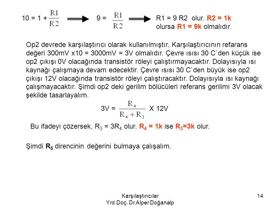 Karşılaştırıcılar Yrd.Doç. Dr.Alper Doğanalp 14 10 = 1 +9 =R1 = 9 R2 olur. R2 = 1k olursa R1 = 9k olmalıdır. Op2 devrede karşılaştırıcı olarak kullanı