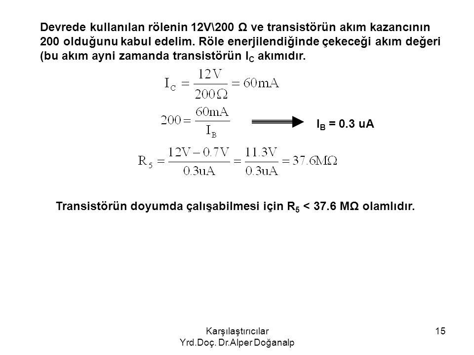 Karşılaştırıcılar Yrd.Doç. Dr.Alper Doğanalp 15 Devrede kullanılan rölenin 12V\200 Ω ve transistörün akım kazancının 200 olduğunu kabul edelim. Röle e