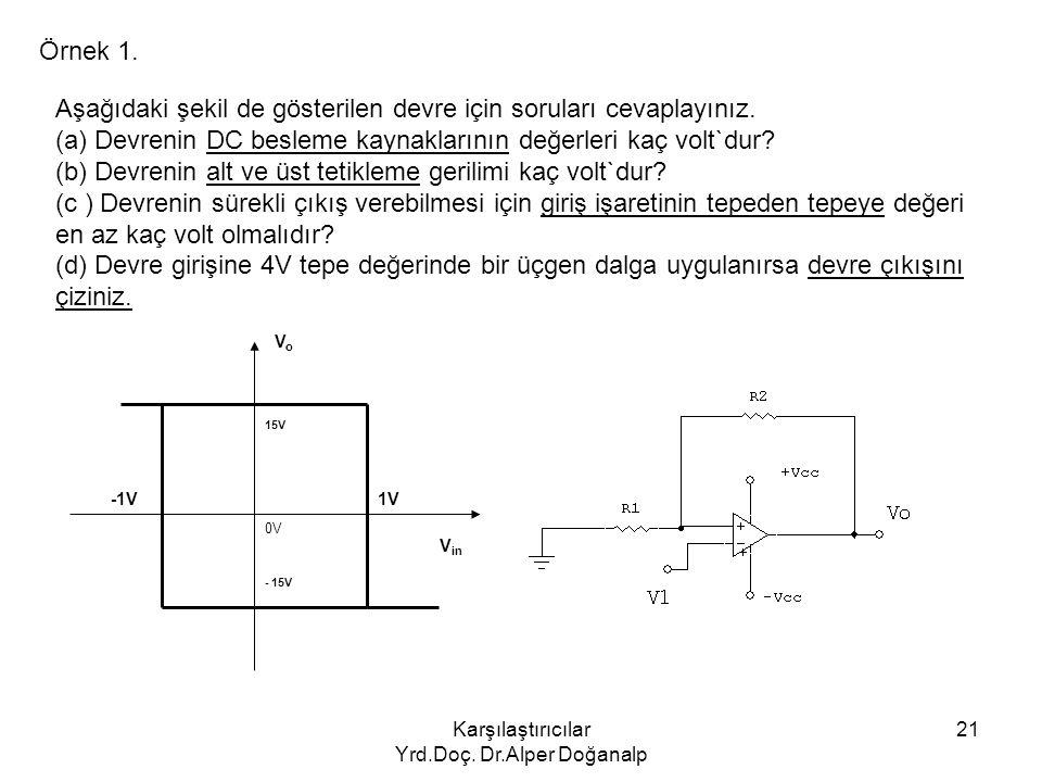 Karşılaştırıcılar Yrd.Doç. Dr.Alper Doğanalp 21 Örnek 1. Aşağıdaki şekil de gösterilen devre için soruları cevaplayınız. (a) Devrenin DC besleme kayna