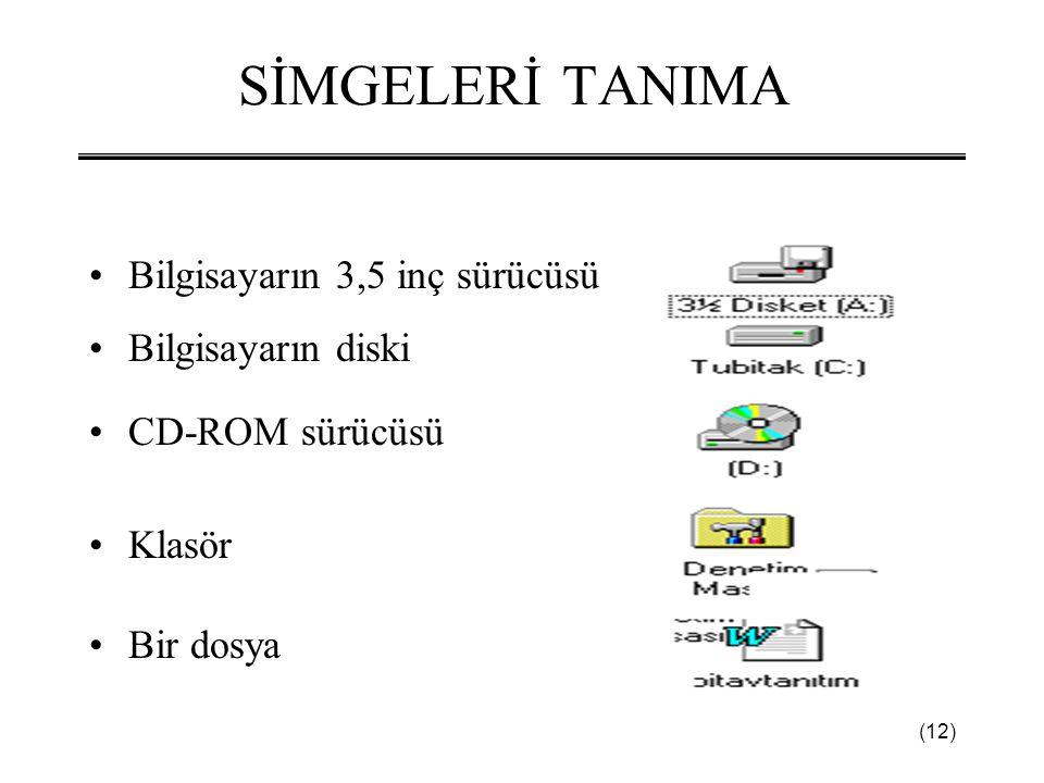 (12) SİMGELERİ TANIMA •Bilgisayarın 3,5 inç sürücüsü •Bilgisayarın diski •CD-ROM sürücüsü •Klasör •Bir dosya