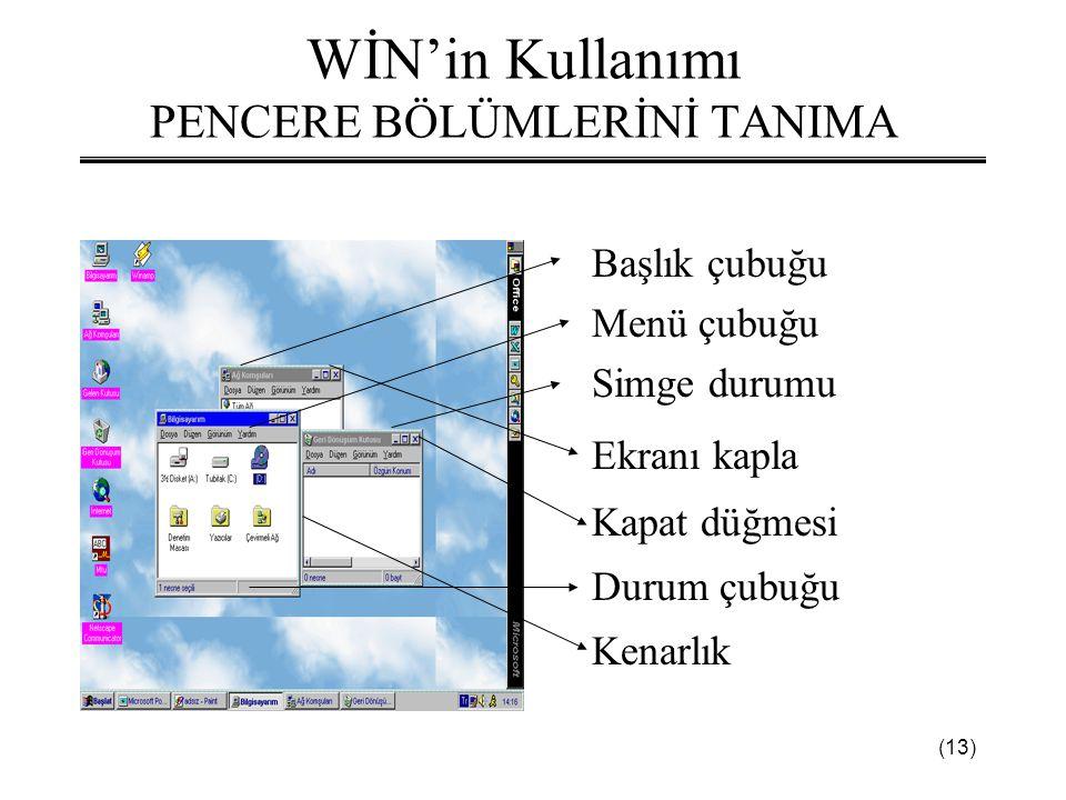 (13) WİN'in Kullanımı PENCERE BÖLÜMLERİNİ TANIMA Başlık çubuğu Menü çubuğu Simge durumu Ekranı kapla Kapat düğmesi Durum çubuğu Kenarlık