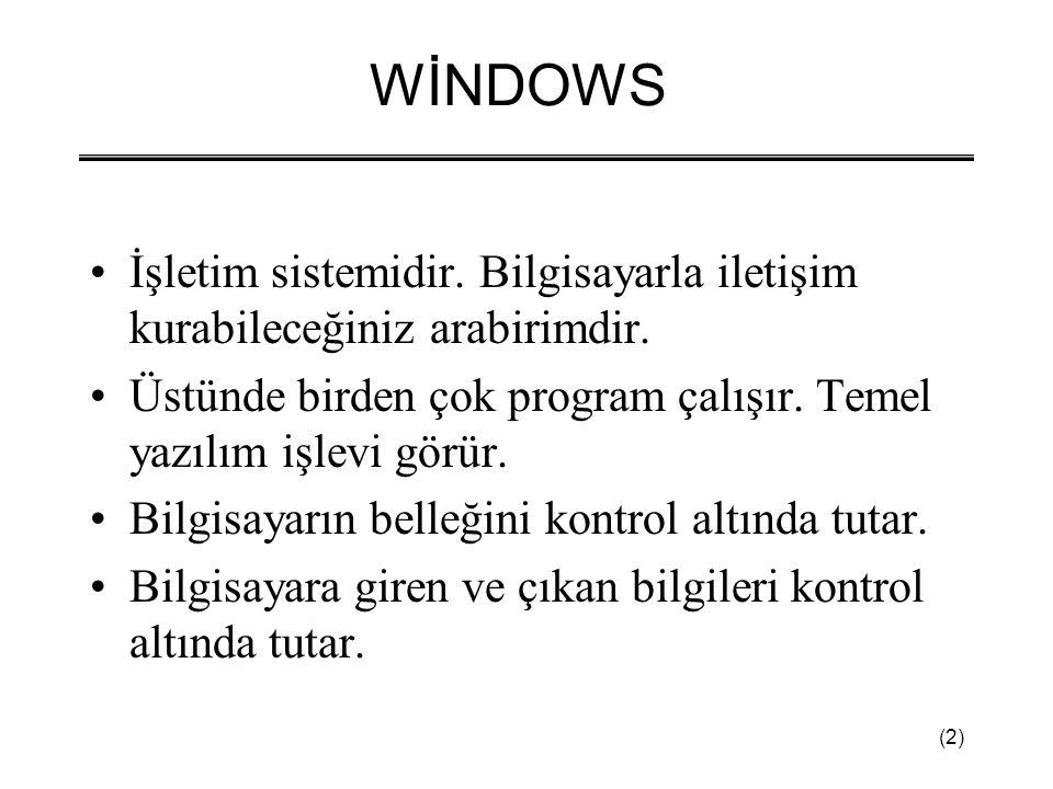 (2) WİNDOWS •İşletim sistemidir. Bilgisayarla iletişim kurabileceğiniz arabirimdir. •Üstünde birden çok program çalışır. Temel yazılım işlevi görür. •