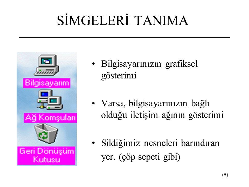 (6) SİMGELERİ TANIMA •Bilgisayarınızın grafiksel gösterimi •Varsa, bilgisayarınızın bağlı olduğu iletişim ağının gösterimi •Sildiğimiz nesneleri barındıran yer.