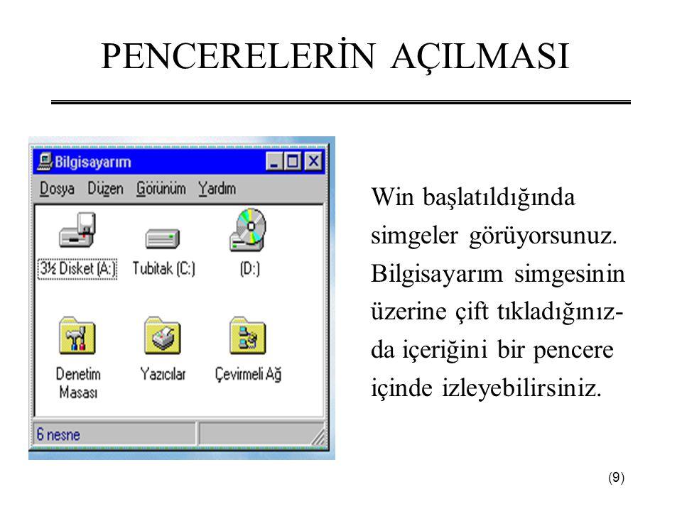 (9) PENCERELERİN AÇILMASI Win başlatıldığında simgeler görüyorsunuz. Bilgisayarım simgesinin üzerine çift tıkladığınız- da içeriğini bir pencere içind