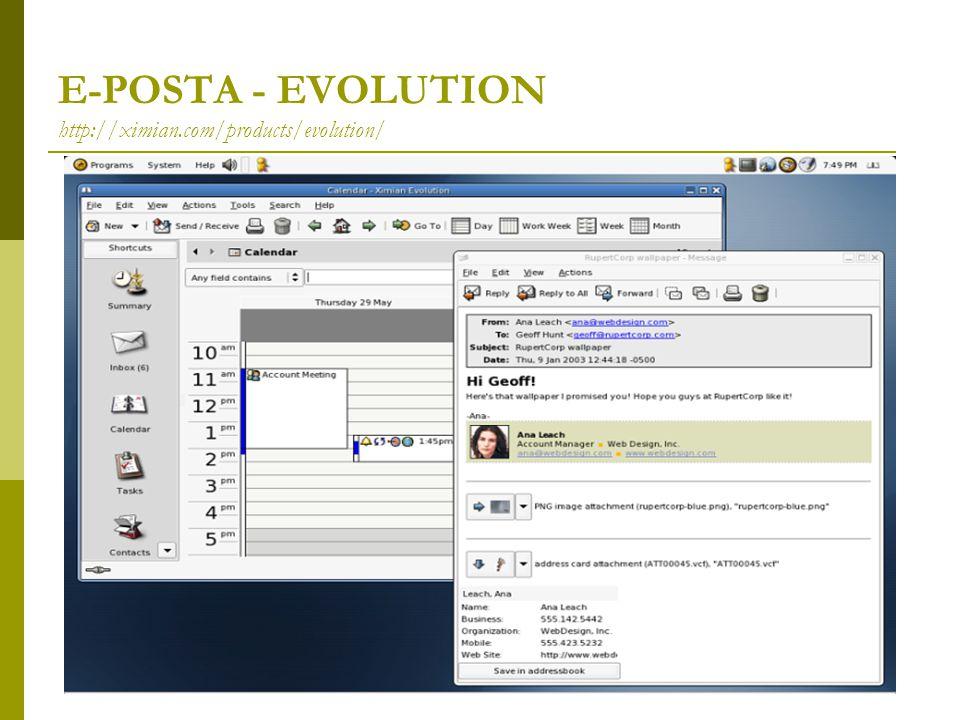 E-POSTA - EVOLUTION http://ximian.com/products/evolution/