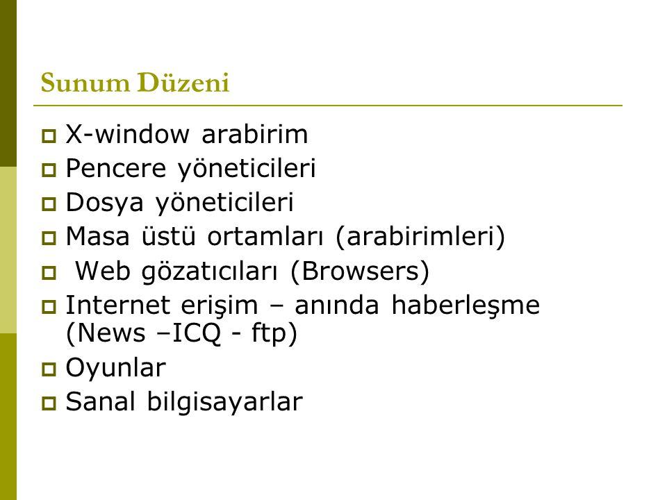 Sunum Düzeni  X-window arabirim  Pencere yöneticileri  Dosya yöneticileri  Masa üstü ortamları (arabirimleri)  Web gözatıcıları (Browsers)  Inte