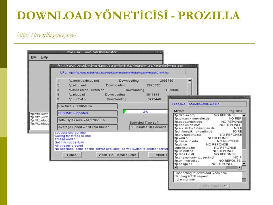 DOWNLOAD YÖNETİCİSİ - PROZILLA http://prozilla.genesys.ro/