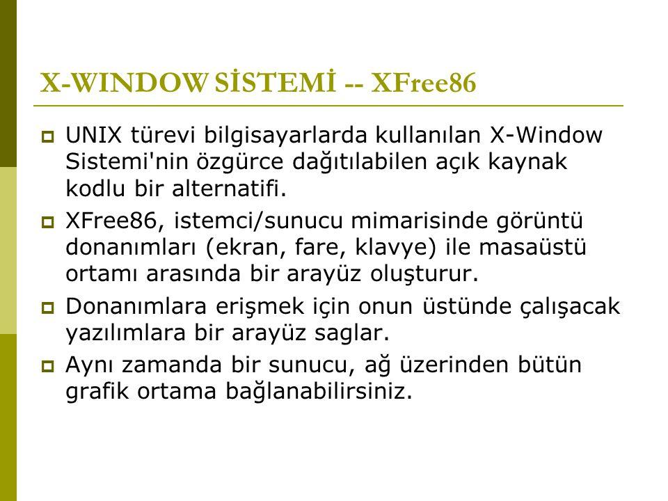 X-WINDOW SİSTEMİ -- XFree86  UNIX türevi bilgisayarlarda kullanılan X-Window Sistemi'nin özgürce dağıtılabilen açık kaynak kodlu bir alternatifi.  X