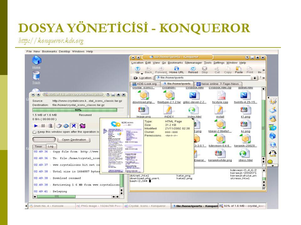 DOSYA YÖNETİCİSİ - KONQUEROR http://konqueror.kde.org